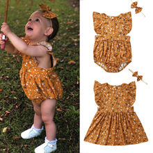 Sister Matching Clothes Toddler Infant Newborn Baby Girl Floral Flare Sleeve Summer Romper Dress Outfit Set Headband