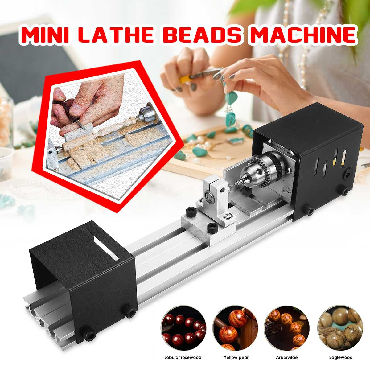Mini Lathe Beads Machine DIY Woodworking Lathe Polishing Grinding Drill Tool Carving Cutter Wood Lathe 100W Polishing Drill Tool