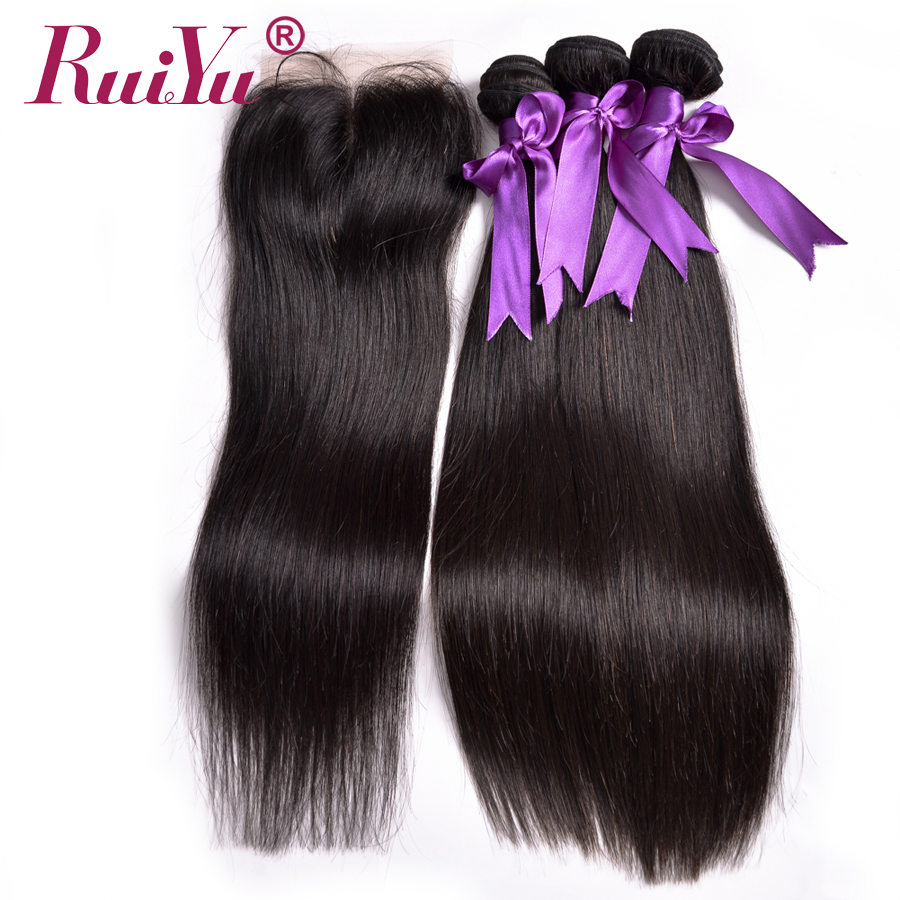 RUIYU Malaysian Straight Hair 100% Human Hair Weave Bundles With Closure 3Bundles With Closure Midlle Part Non Remy Hair Bundles