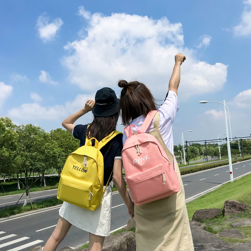 Купить с кэшбэком 2018 New Preppy Style 5 Candy Colors Canvas Daily Backpacks Chic Simple School Bags For Teenager Girls Travel Laptop Rucksacks