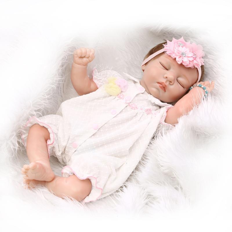 Hot Sale 50 55 cm Lifelike Silicone Reborn Baby Dolls Close Eyes Newborn Baby Girl Dolls