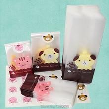 50pcs/L Plastic Biscuit Cookie Bag Baking Packs Sac Plastique Cute Dog Cat Pattern Packaging for Cookies Bolsas de Regalo(China (Mainland))