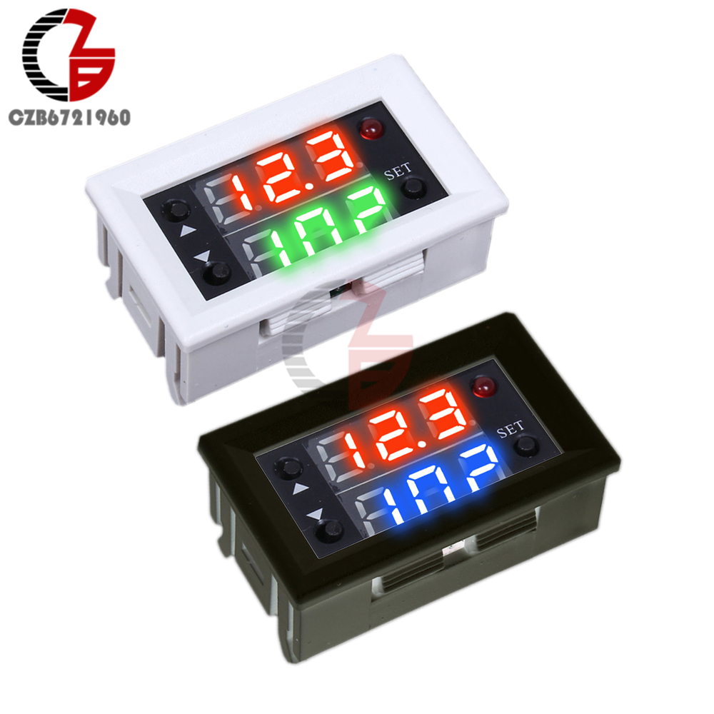 Dual Display Time Relay Module DC 12V Time Delay Relay Mini LED Digital Timer Relay Timing Delay Cycle Time Control Switch Home dc 5 36v dual road mos tube module dc12v 24v trigger cycle timing delay switch circuit for controlling motor lights led etc