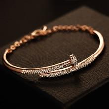 punk fashion crystal nail bangle bracelet manchette for women fashion design jewelry bracelet femme acier inoxydable
