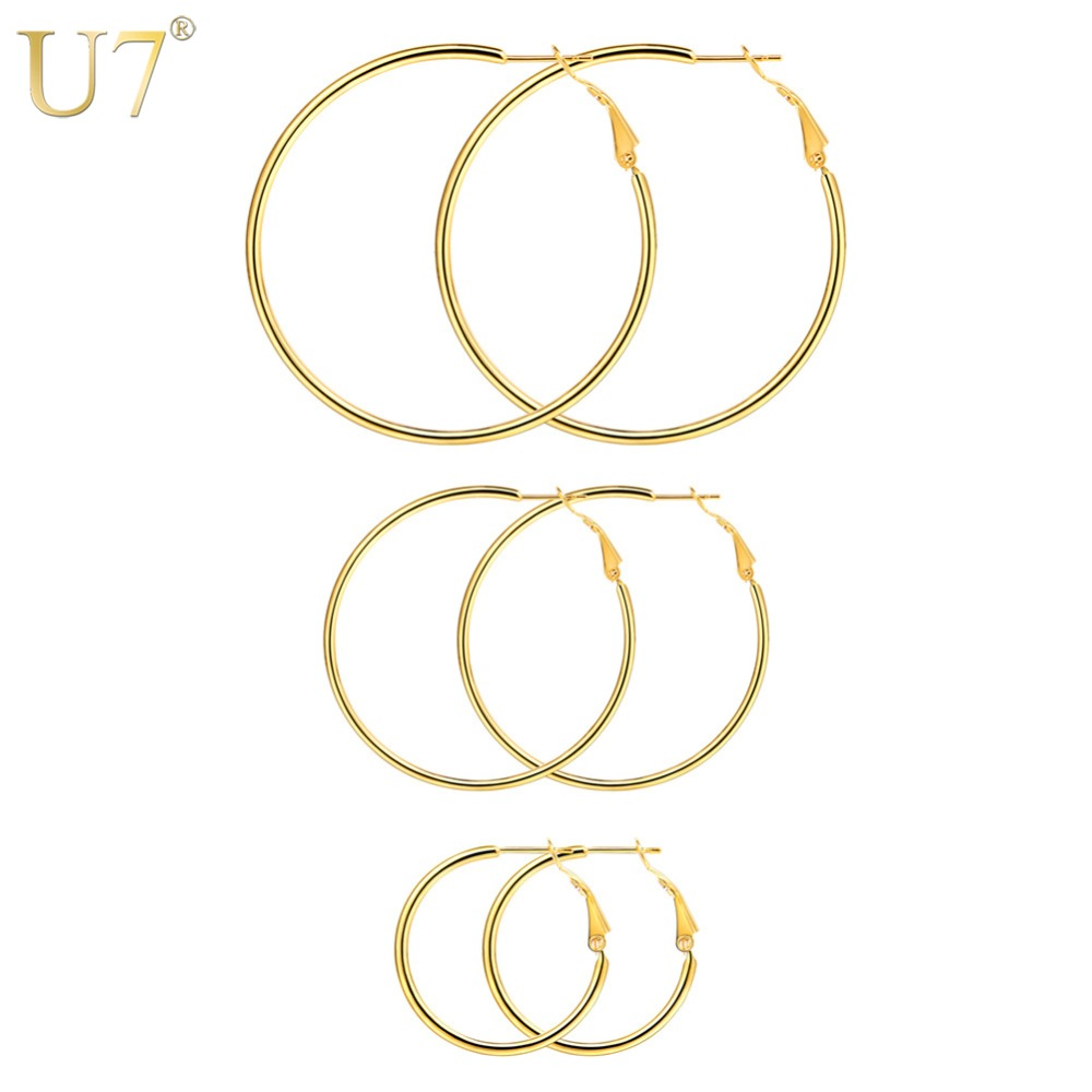 U7 Stainless Steel Simple Big/Small Hoop Earrings For Women 3 Size Gold/Black Color Circle Earring Set Minimalist Jewelry E1008 цена 2017