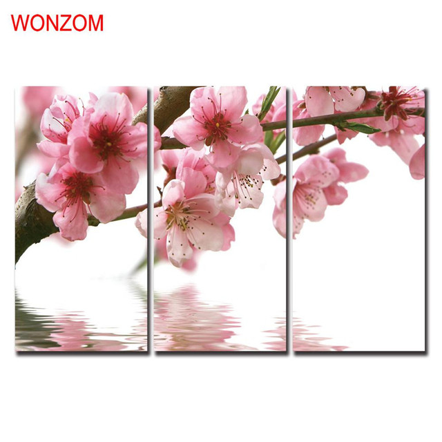 Pink Flowers Paintings For Living Room Modern Wall Christmas Canvas ...