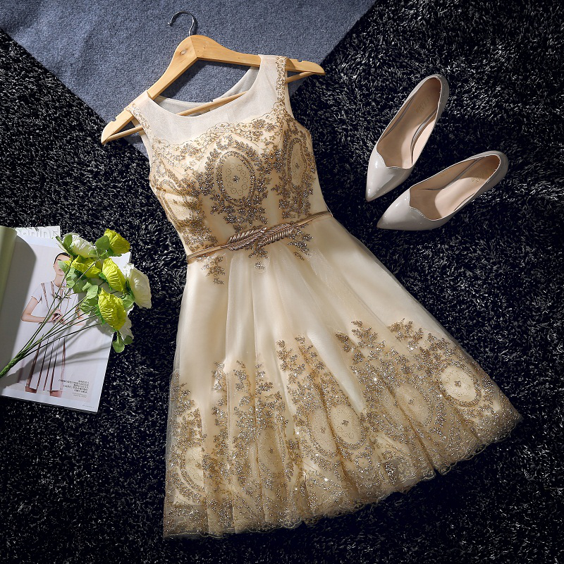Elegant Evening Dress Short Beads Sashes Gold Banquet Party Dress Stunning Tulle Prom Dresses Robe De