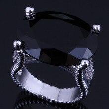 Noblest Huge Oval Egg Black Cubic Zirconia 925 Sterling Silver Ring For Women V0574