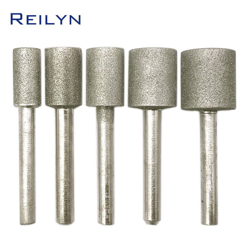 Reilyn 6mm Fine Sand Cylindrical Grinding Head Diamond Grinding Head Emery Rod Mold Processing Repair Cutting Line Polishing