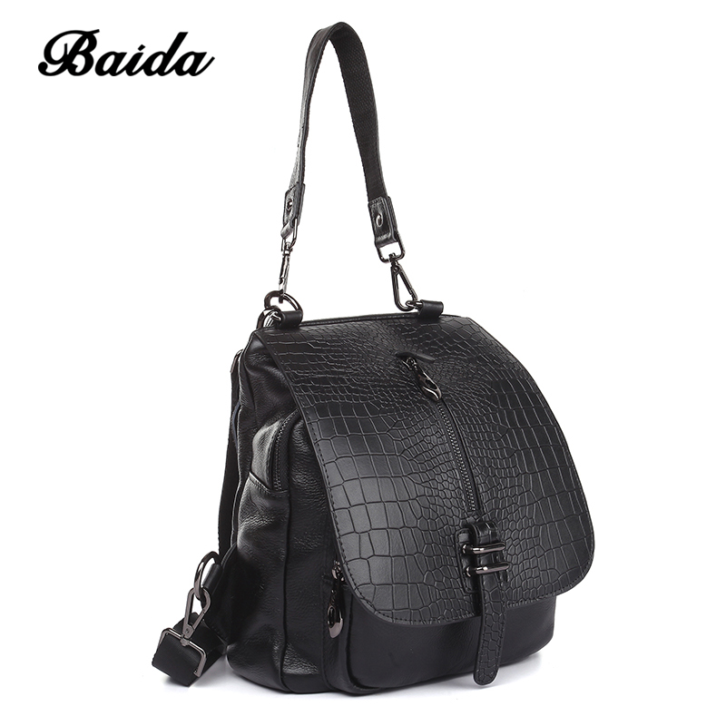 Leisure Women shoulder bag Genuine Leather Satchels Alligator Fashion Ladies Large Capacity Mochilas Dual use Flip