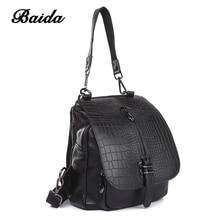 Freizeit Frauen schultertasche Aus Echtem Leder Schulranzen Alligator Mode Damen Große Kapazität Mochilas Dual-use-Flip Taschen Handtaschen