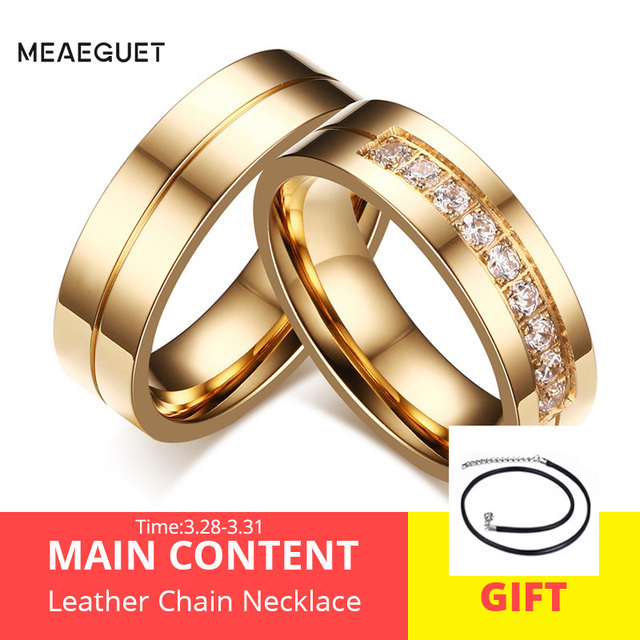ee664a3dce Meaeguet Gold-Color CZ Wedding Rings Lover's Cubic Zirconia Stainless Steel  Romantic Ring Jewelry USA