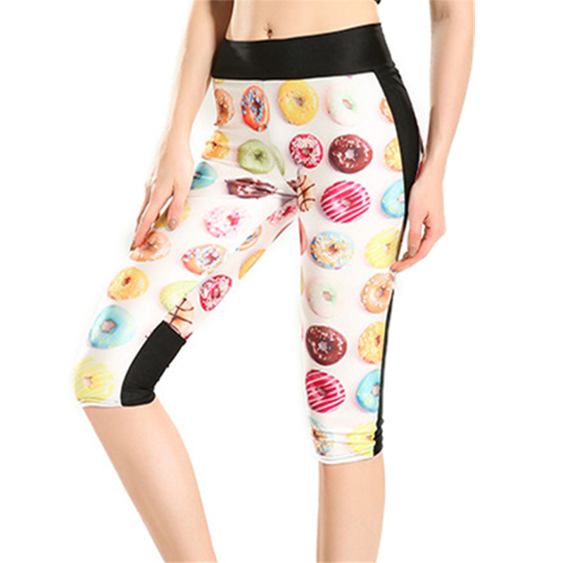 DOUBCHOW Women's 3D Printed Summer Active Cropped Capris with Pockets 2020 Donut Tights Fitness Leggins Pants Plus Size 2xl 3XL
