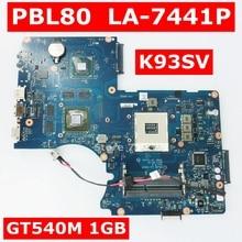 PBL80 LA-7441P K93SV GT540M 1GB Mainboard For ASUS LA-7441P K93SV K93SM K93S K93 X93S X93SV Laptop Motherboard Test 100% OK