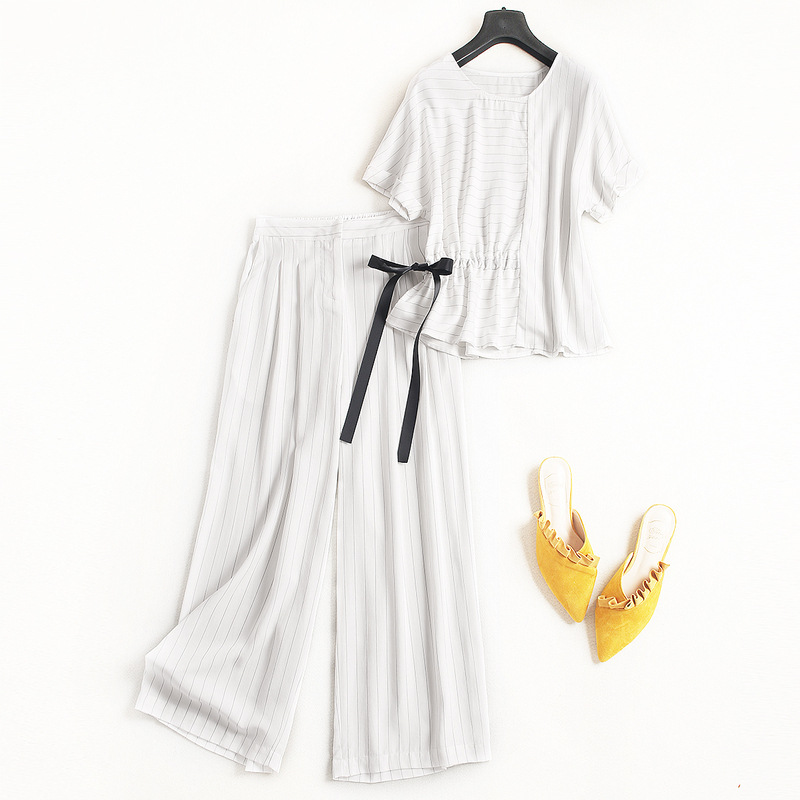 Women fashion white striped waist bow tie tops batwing sleeve blouse + japaness mid-calf wide leg pant 2 piece set 2018 summer contrast embroidered mesh yoke bow tie striped blouse