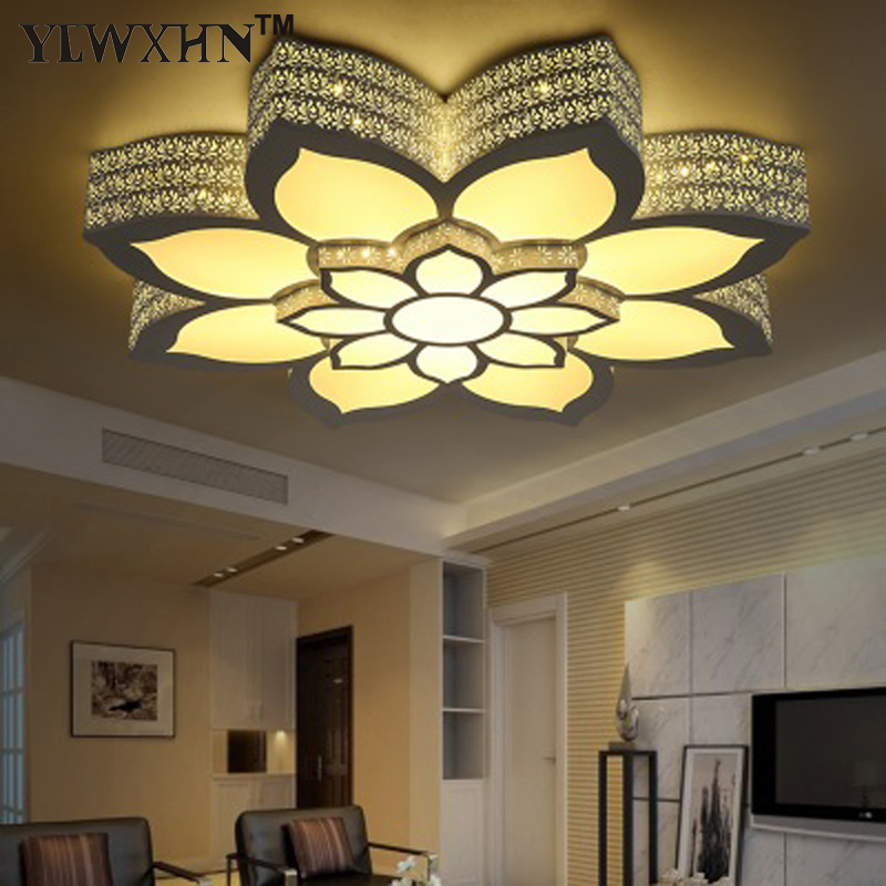 2018 Ce Hot Sale Abajur Double Layer Large Lotus Type Ceiling Lamp, Rgb+ Light +warm For Intelligent Control / Hardware Iron