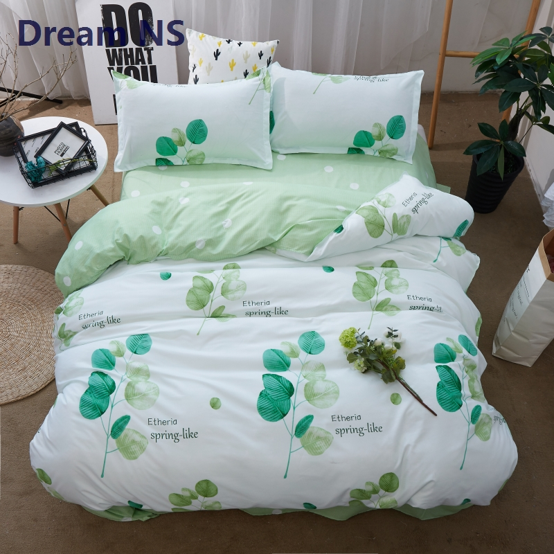 AHSNME Green Spring Bedding Set Fresh Leaves Duvet Cover Good Mood Bedlinens Adults Child Bed Covering King Queen Single 3pcs