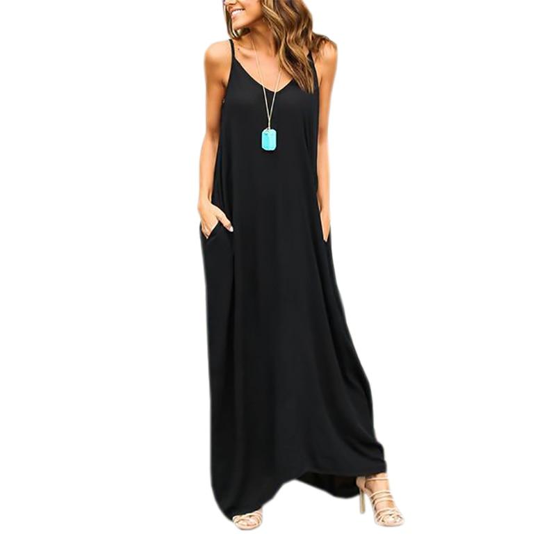 Mujeres maxi dress sueltos vestidos de playa casual del verano correa de espague