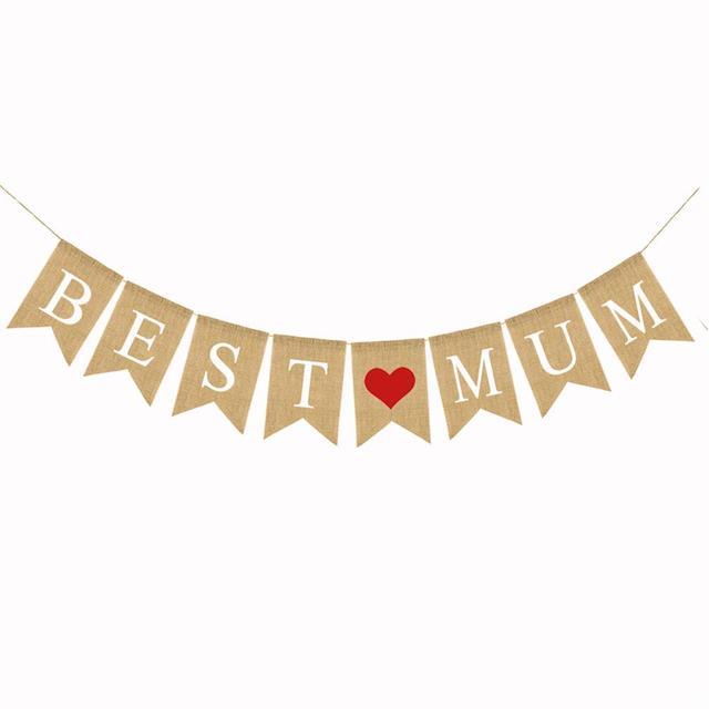 Us 34 31 Offdzień Matki Dekoracje Najlepsze Mama Garland Banery Pościel Jaskółczy Ogon Logo Banner Trznadel Na Dzień Matki Birthday Party Supplies