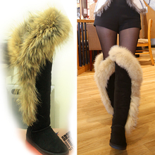 2017 Fashion Style big girls fox fur tall thigh winter snow boots for women winter shoes cow split leather long boots for party