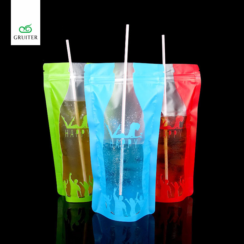 100x Food Grade 350 ml New Colorful Printing Style Plastic Drink Packaging Bag Pouch for Beverage Juice Milk Coffee W/Tear Notch