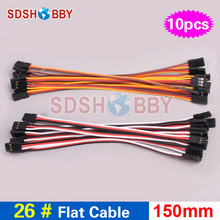 10pcs 26AWG Flat Cable 150mm 100mm Connecting Cable for FC Male male Servo Wire JR Futaba