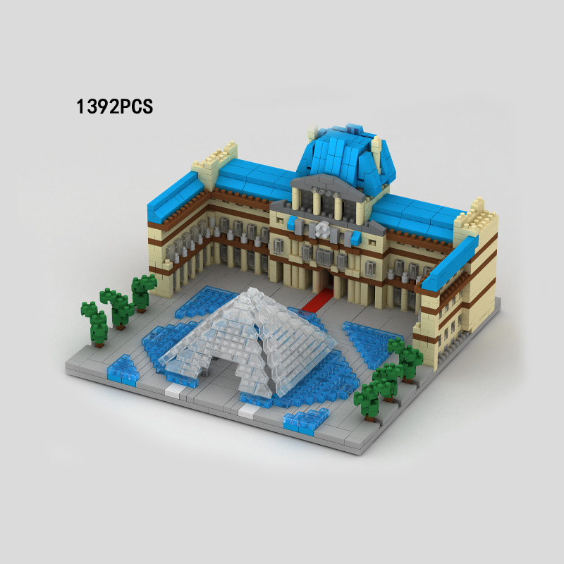 World famous Cultural Architecture micro diamond building block Louvre Museum Paris France bricks nanoblock toys collection цена
