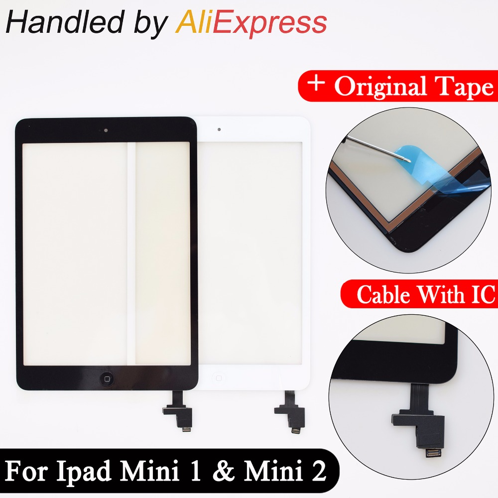 New For iPad Mini A1432 A1454 A1455 Mini 2 A1489 A1490 A149 Digitizer touch screen glass sensor Panel with ic + home button