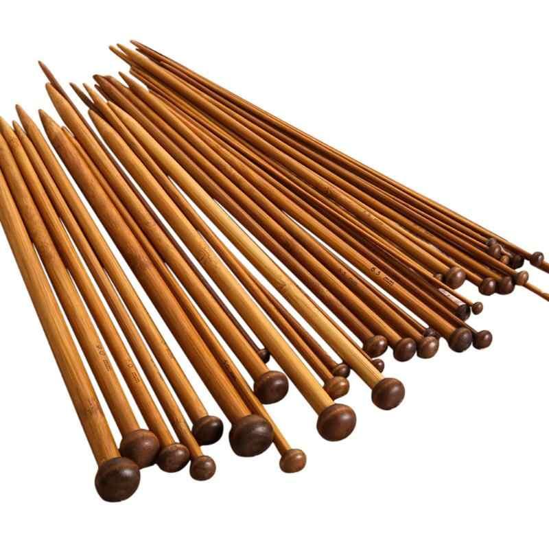 A LJKsgU 36pcs 18 agujas de tejer de ganchillo de una sola punta de bamb/ú carbonizado de tama/ño