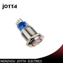 19mm 1NO 1NC Latching LED light Ring Lamp type metal push button switch with flat round цена
