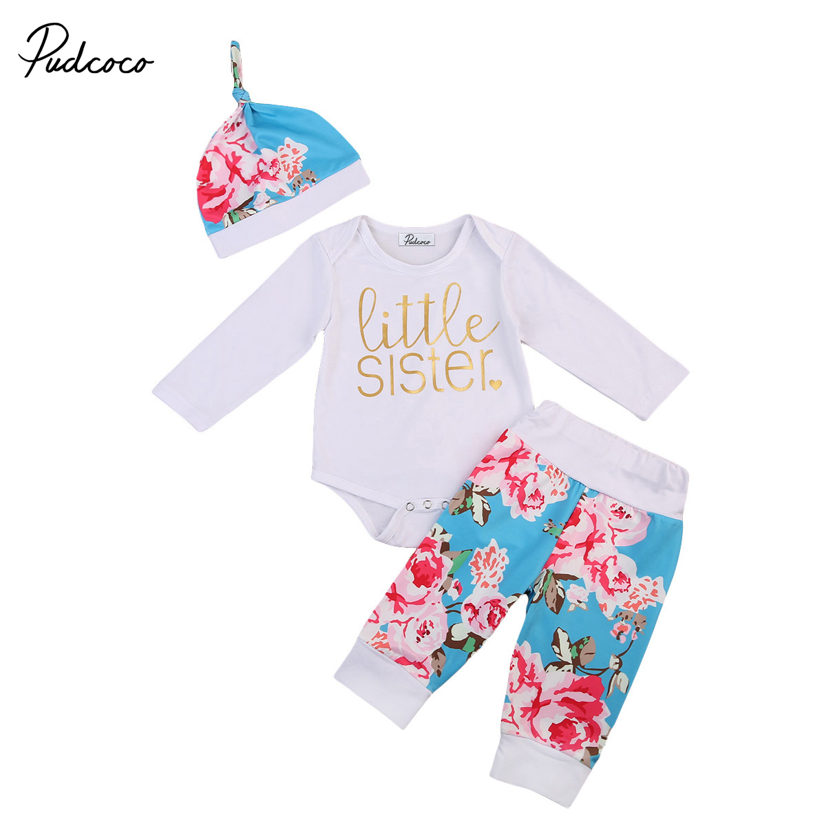 Pudcoco Newborn Baby Girl Clothes Long Sleeve White Romper Bodysuit Floral Pants Hat 3pcs Outfits Cute Fashion baby sets