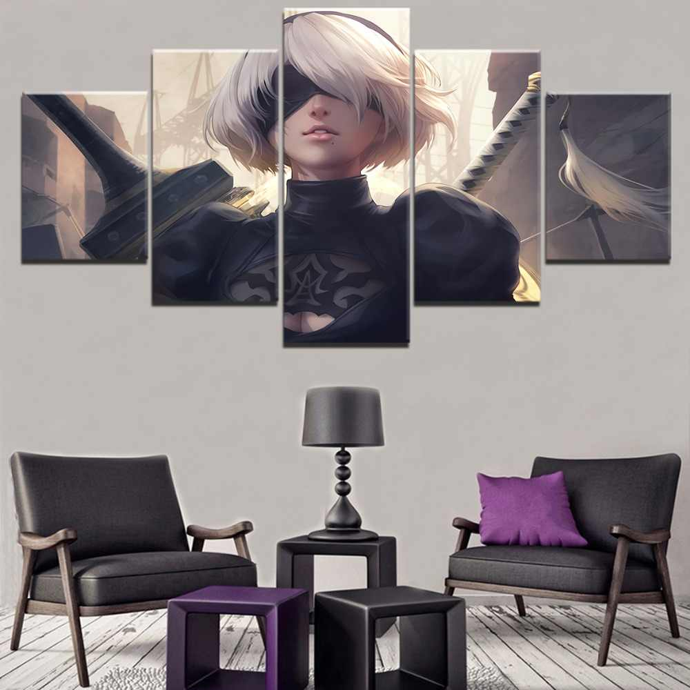 Canvas HD Printed Game Painting Wall Art Decorative Living Room Modular Picture Framework 5 Panel NieR Automata YoRHa Poster