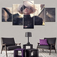 Canvas HD Printed Game Painting Wall Art Decorative Living Room Modular Picture Framework 5 Panel NieR Automata YoRHa Poster home decor living room 5 piece 2b back black shadow painting canvas hd print game nier automata poster wall art modular picture