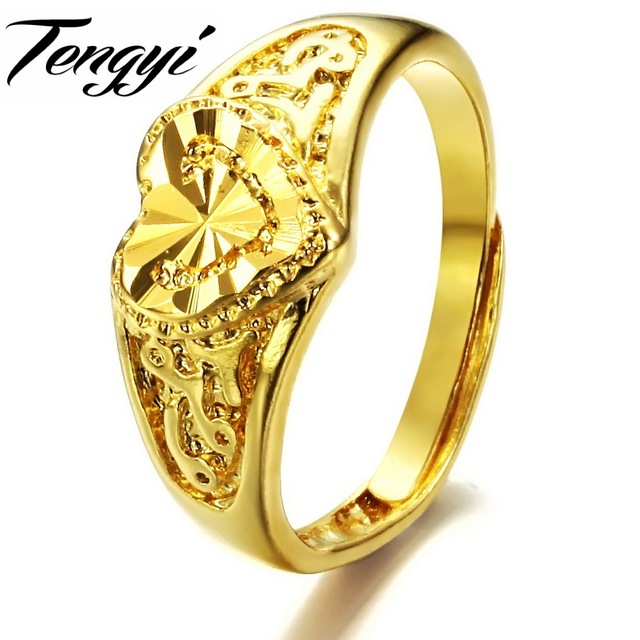 Tengyi Women Fashion Jewelry Copper Plating Gold Color Rings Love Shape European Style Ring Size Adjule