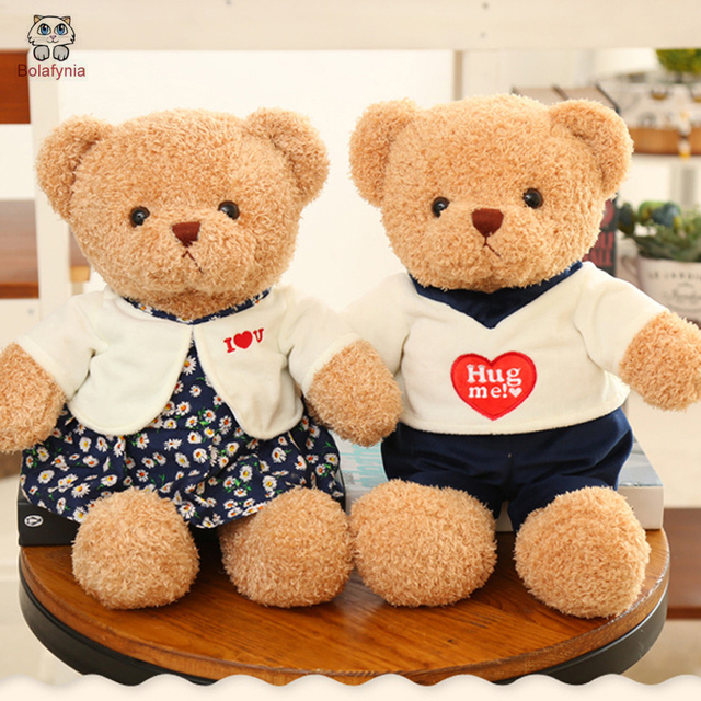 3413d955406 BOLAFYNIA Children Plush Stuffed Toy Couple wear clothes teddy bear Baby Kids  Toy for Christmas Birthday Valentine s Day gift