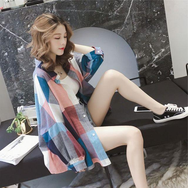 f18f51eb4fe 2018 Cotton Long Sleeve Plaid Shirt Ladies Casual Women Oversize Korean  Outerwear Blouse Female Tops Blusas Size Chemise Femme