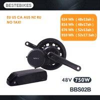Bafang motor BBS02B BBS02 48 V 750 w bicicleta eléctrica kit de conversión de batería velo motor eléctrico 48v13/17ah 52v13 /17.5ah batería