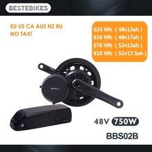 Двигатель bafang BBS02B BBS02 48 V 750 w Электрический велосипед conversion kit batterie вело электродвигателя 48v13/17ah 52v13/17.5ah батареи