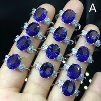 Oval 8x10MM Tanzanite Blue Topaz Crystal Rings for Ladies, 925 Sterling Silver Fine Jewelry Rings Drop Shipping Jewelry
