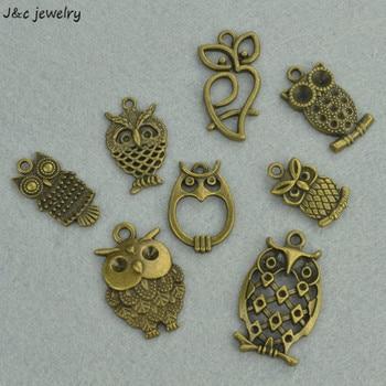Lote al por mayor de 8 Uds de dijes de aleación de Zinc chapados en bronce antiguo Búho de metal accesorios de joyería Diy 3292B