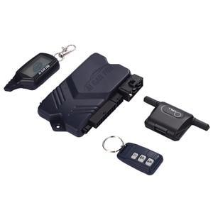 Image 2 - Russische Version Zwei wege Auto Alarmanlage mit Motor Starten LCD Fernbedienung Schlüssel Fob Fall Für B9