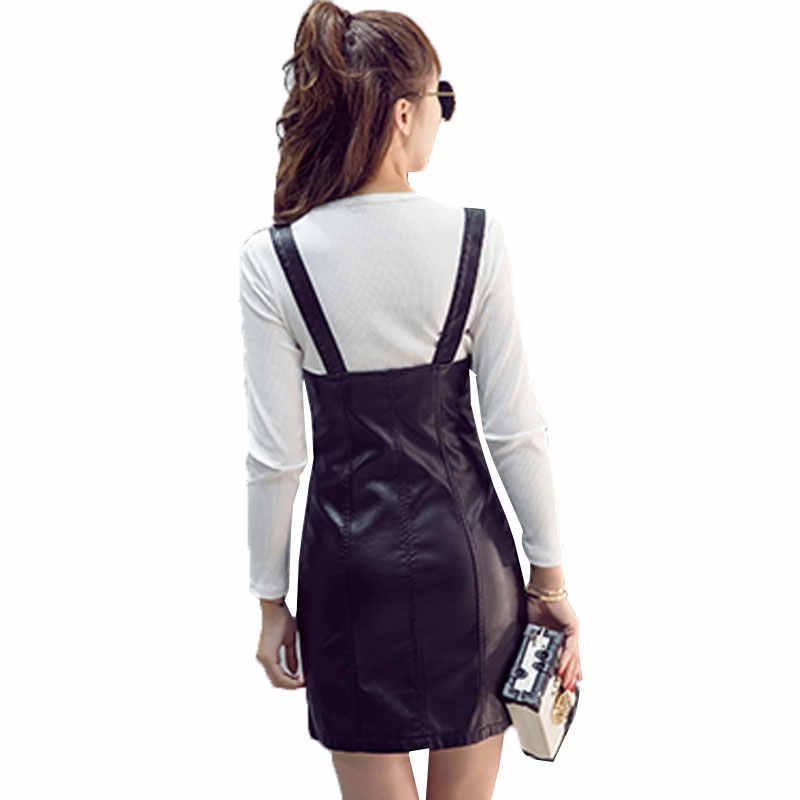 96926eee3f7 ... Summer New Womens Dress 2019 Fashion PU Leather Bag hip Strap Women  Dresses Slim Thin High ...