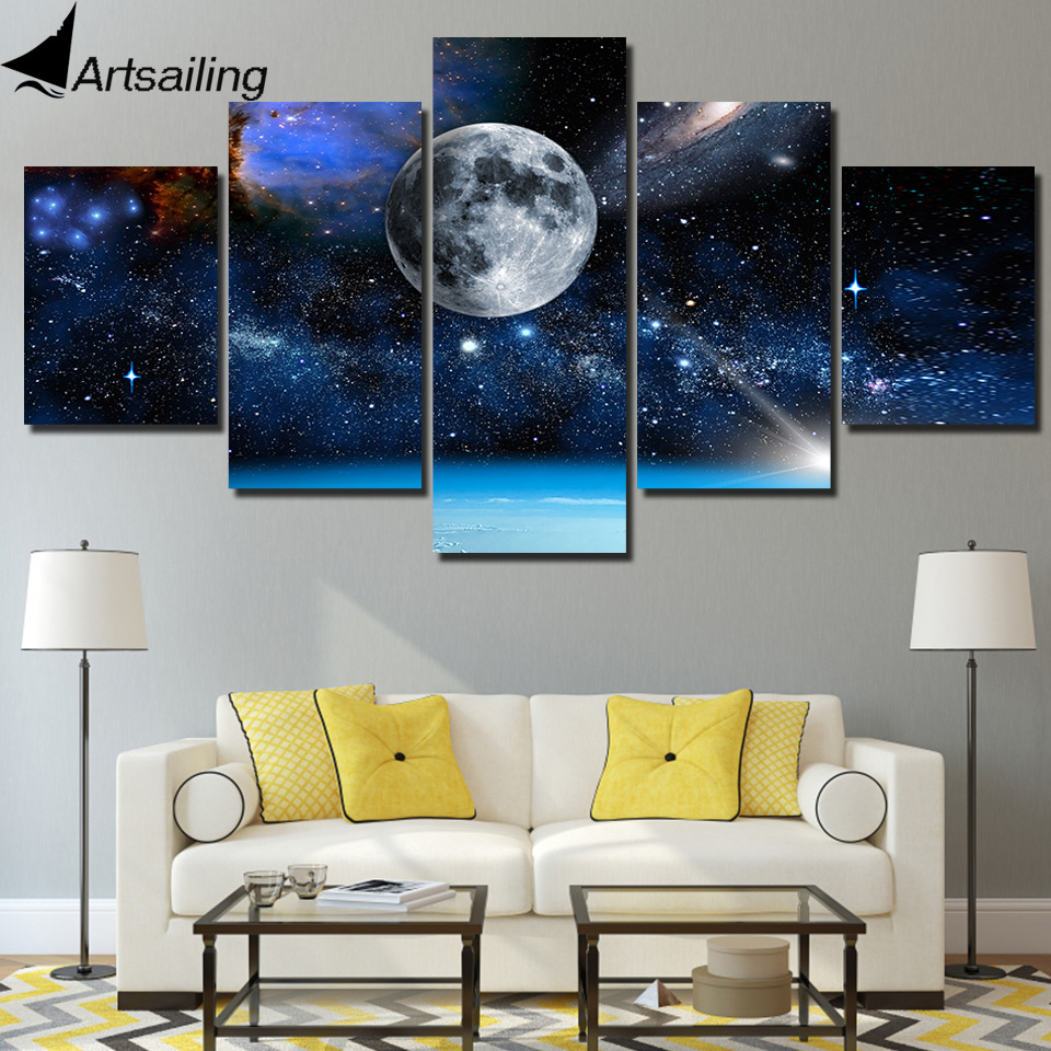 HD Printed 5 Piece Canvas Art Blue Space Starry Sky Painting Universe Wall Pictures for Living Room decoration Pictures Prints
