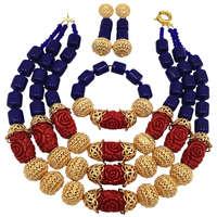 Модный Королевский синий искусственный Коралл ювелирный набор Африканское ожерелье из бусин нигерийские Свадебные комплекты ювелирных из