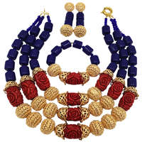 Fashion Royal Blue Artificial Coral Jewelry Set African Beads Necklace Nigerian Wedding Bridal Jewelry Sets FSH 017