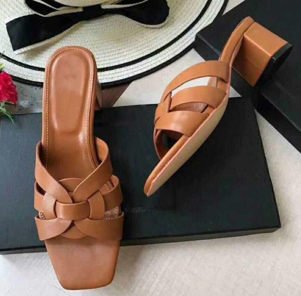 2019 del progettista di lusso scarpe per le scarpe delle signore Delle Donne di Croce Legato pantofole donne Presentazioni aziende produttrici giochi di Spessore Tacchi Alti zapatos mujer infradito-in Pantofole da Scarpe su  Gruppo 3
