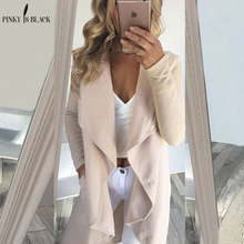 PinkyIsBlack Office Lady Elegant Turn Down Collar Solid Knee Length Trench Coat 2019 Spring Casual Fashion Women Coats Outerwear