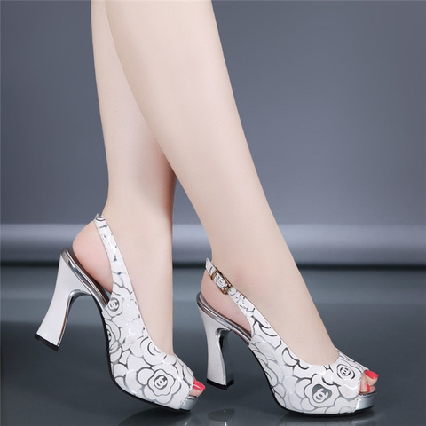 New women fashion pumps high heel office lady causal shoes for summer buckle strap black female square heel peep toe sandals Pakistan
