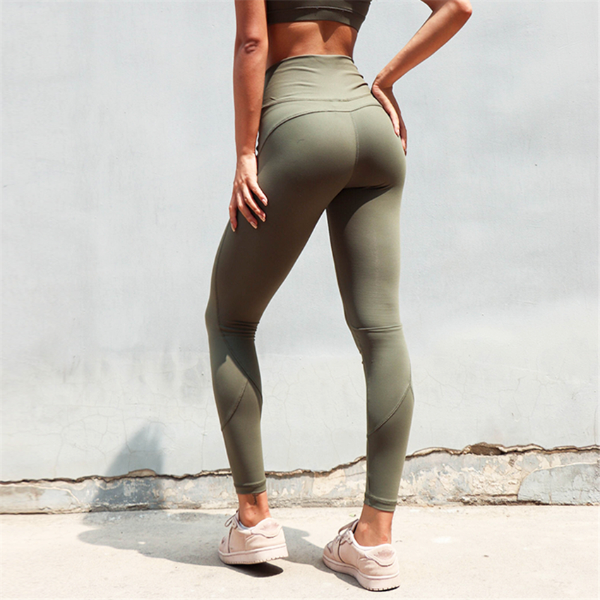 cc61caceff758c One F High Quality Yoga Pants Women High Waist Tummy Control Athletic Gym  Leggings Army Green