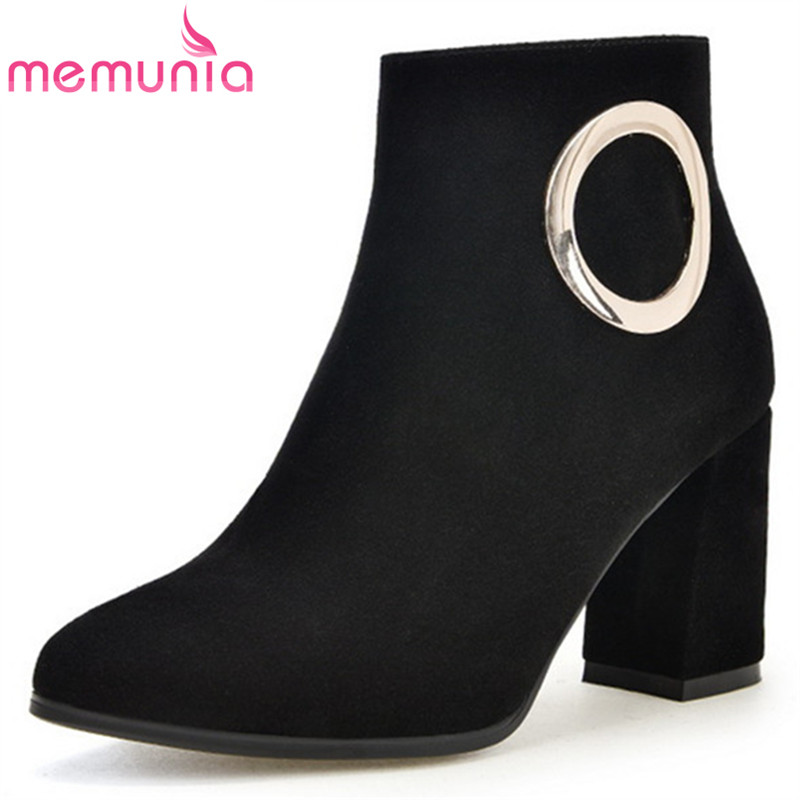 MEMUNIA Cow suede high quality womens boots spring autumn fashion high heels shoes woman ankle boots zipper solid memunia cow leather boots woman top quality ankle boots high heels shoes platform womens boots spring autumn black lace up